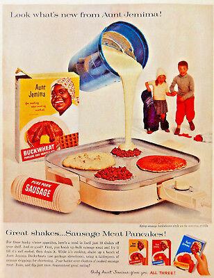 Vtg 1959 Aunt Jemima Buckwheat pancake mix retro advertisement print ad art