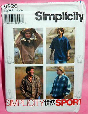 Uncut Simplicity Misses & Mens Sz XS-M Pullover Half Zip Top Pattern 9226 Hooded