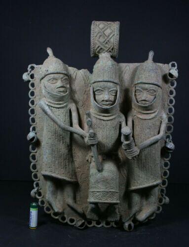 "Large 15.7"" African BENIN Bronze Royal Plaque, Nigeria, Benin city, TRIBAL ART"