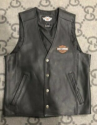 100% AUTHENTIC HARLEY DAVIDSON VEST Accessories Black Leather Size Medium M (Authentic Black Leather Vest)