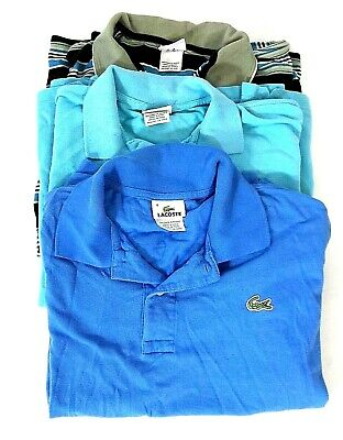 Lot 3 Lacoste Polo Shirt Large Men's Short Sleeve Croc Men Size 6/8 Sz L Blue FS