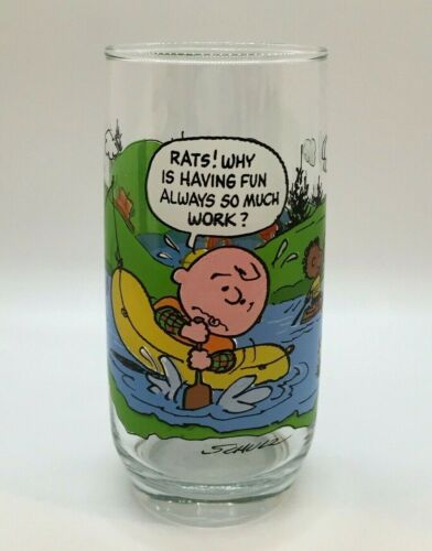 Vintage 1968 McDonalds Camp Snoopy Collection Peanuts Charlie Brown Glass Signed