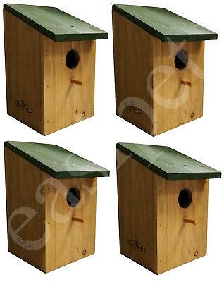 4 x Wooden Bird Nesting Box Small Nest Traditional Wood House Robin Blue Tit