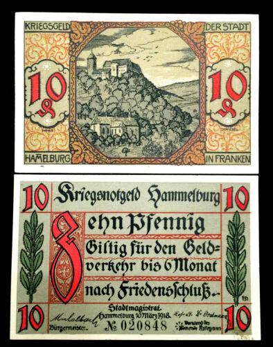 1918 German Notgeld Hammelburg 10 Pfennig Bank Note - 100 Years Old UNC