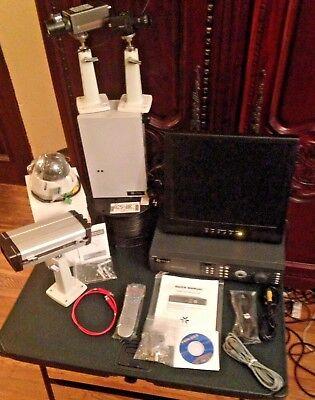 4 Camera Complete Industrial Grade Cctv System Viconpelco Dvrmonitorcable
