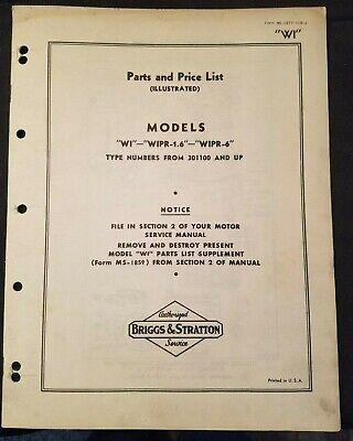 Briggs Stratton Model Wi Wipr-1.6 Wipr-6 Parts List Illus Original Circa 1940