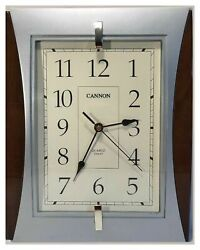 "Cannon Wall Clock 14""x11"" Quiet Sweep Second Hand Clock. Silver/Brown"