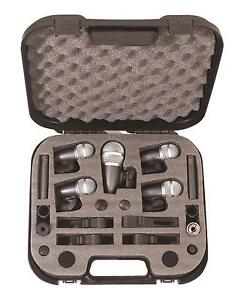 NJS Microphone Drum Kit 7 Piece Mic Set Inc Carry Case Sound Studio PA Band
