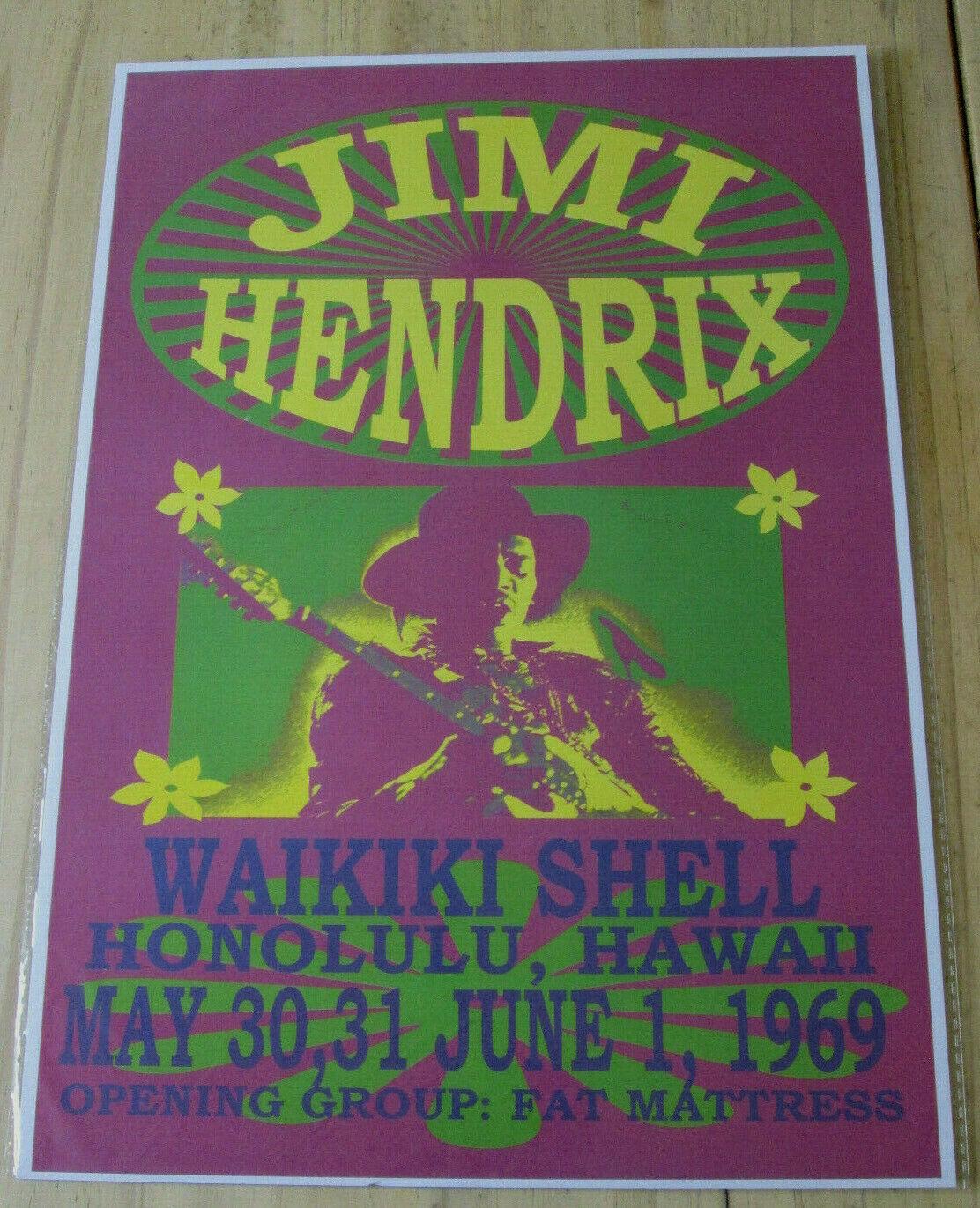 Jimi Hendrix Waikiki Shell Honolulu 1969 Reproduction