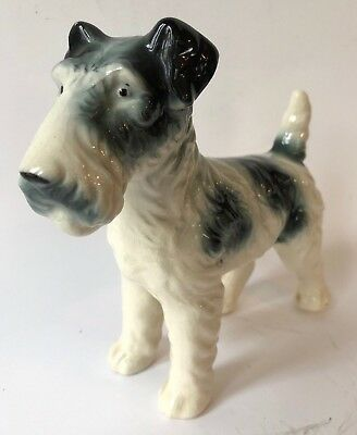 Vintage Porcelain Wire Haired Fox Terrier Dog Lover Standing Figurine Japan