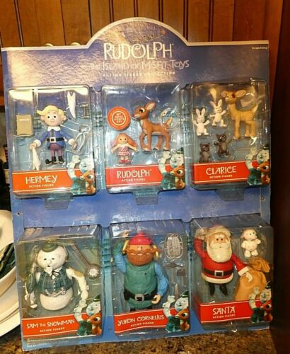 PLAYING MANTIS RUDOLPH & THE MISFIT TOYS ALL 7 SET COMPLETE  MINT WITH BACKDROP