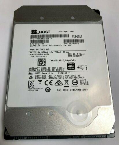 HGST Ultrastar He10 0F27438 HUH721010AL4204 10TB 3.5 7.2K RPM SAS 12Gb/s 4Kn HDD