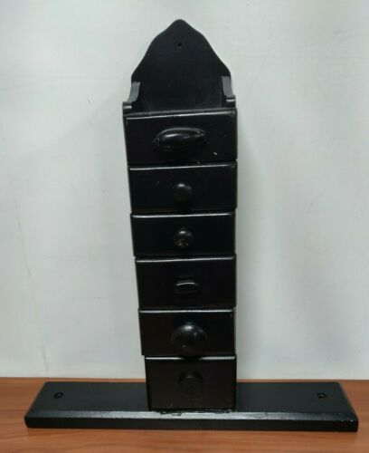 Vintage 6 Drawer Spice Cabinet/wall Box/cupboard/apothecary/chest/black Painted