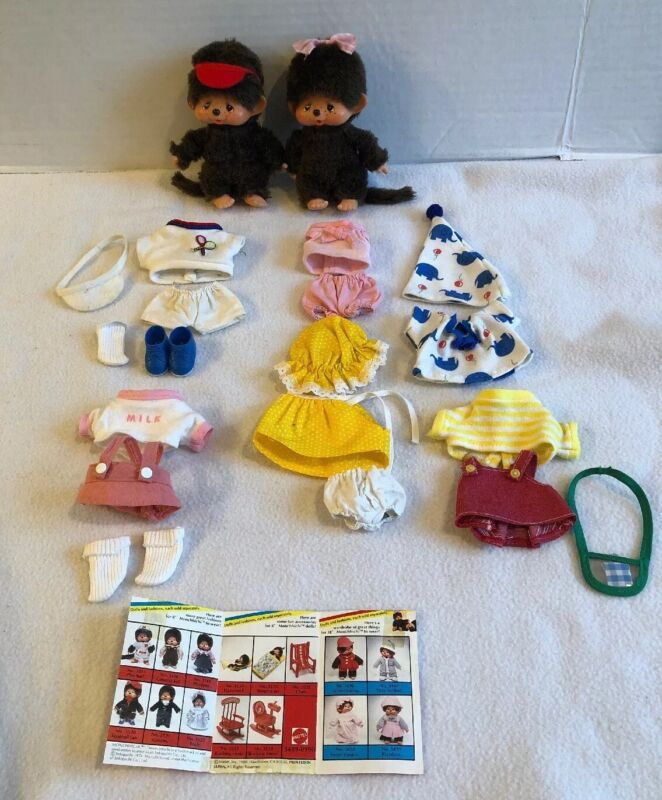 """Vintage Lot of Mattel Monchhichi Monkey with 6 Original Outfits Clothes 5"""" Doll"""