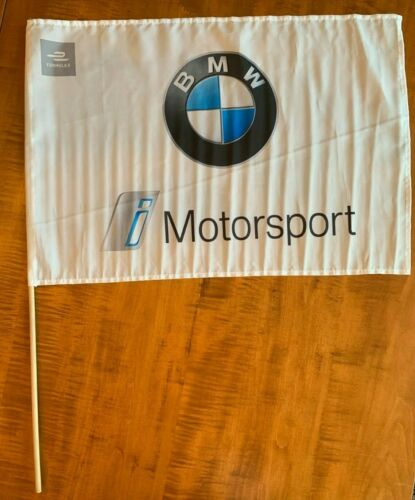 "BMW MOTORSPORT FLAG FORMULA E 22"" x 15"" ON POLE/STICK HANDHELD OR WALL DECOR NEW"