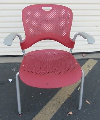 Herman Miller Caper Officehome Stacking Chair Red Ergonomic Wc410p Molded Seat