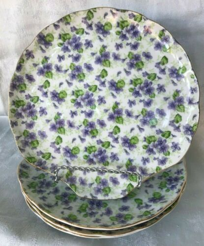 VINTAGE~LEFTON CHINA~SCALLOPED~HANDPAINTED CLAM~VIOLET CHINTZ~SNACKPLATE 638V