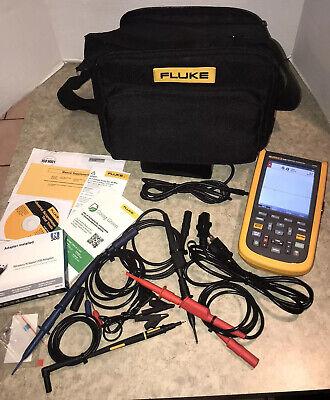 Fluke 124b Industrial Scopemeter Hand-held Oscilloscope 2 Input Channels 40 Mhz