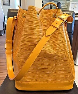 Louis Vuitton Mustard Leather Large Noe Drawstring Shoulder Bag With Accessories