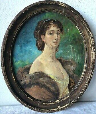 Antico quadro con cornice -Olio su pannello -Ritratto donna - 1880