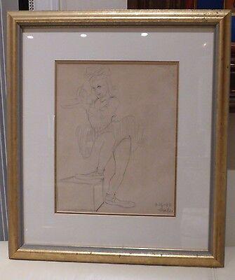 HAL AMBRO WALT DISNEY STUDIOS ANIMATOR 1940 SIGNED ORIGINAL ANIMATION DRAWING