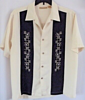 The Havanera Co Mens Shirt Large Beige Black Button Front Short Sleeves