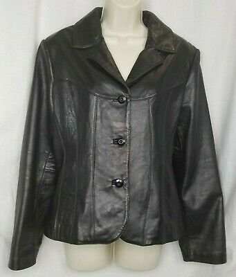 Wilson Leather womens leather jacket size L black lined soft pockets button up
