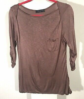 Hiatus Basic Shirt Top made in USA Women's size L brown 3/4 sleeves