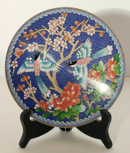 Chinese Cloisonne Plate Birds & Flowers Ching-T