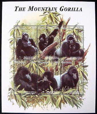 1998 MNH GUYANA MOUNTAIN GORILLA STAMPS SHEET WILD ANIMALS ENDANGERED WILDLIFE - Endangered Wildlife Animals