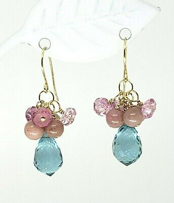 14k Yellow Gold Blue and Pink Topaz Pink Peruvian Opal  Cluster Dangle Earrings