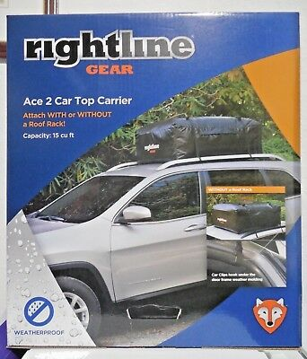 Brand New RIGHTLINE GEAR ACE 2 CAR TOP CARRIER 15 cu ft. Weatherproof w/ Straps