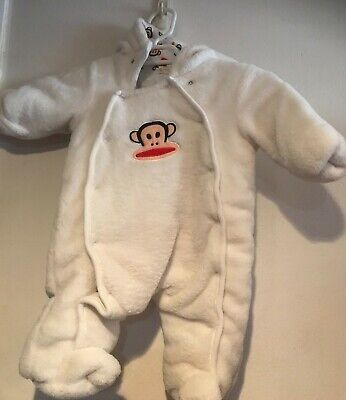 Paul Frank Baby Bunting Infant Monkey Face Snap Front Ivory Unisex 0-3 months