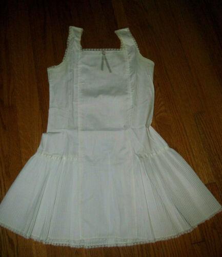 Vintage 60s HER MAJESTY White Cotton Slip w/Pleats for Drop Waist Dresses~10