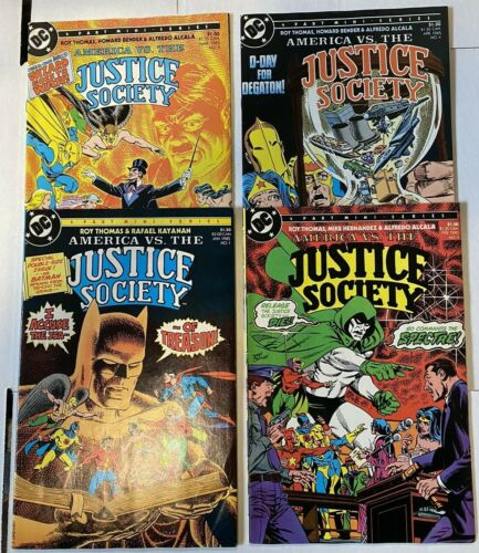 America vs The Justice Society #1 - 4 Complete DC Comic Book Set 1984 FN/VF