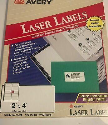 New Avery 5163 White Shipping Labels Laser 2 X 4 Printer 53 Sheets 530 Labels