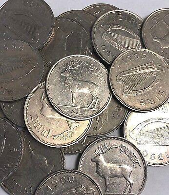 """Irish Pound £1 Punt Red Deer (1990-2000 type) Ireland """"EIRE"""" Stag coins"""