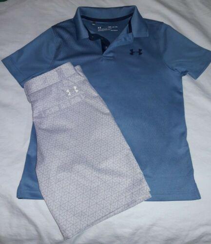 Boys YSM Under Armour HEATGEAR Blue Golf Shirt & Gray Shorts Outfit