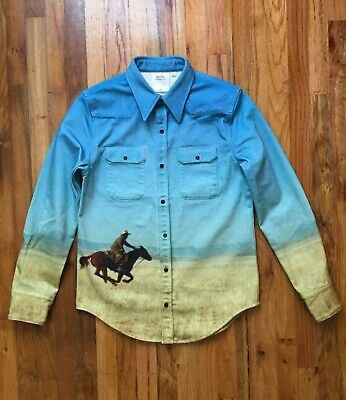 CALVIN KLEIN JEANS EST.1978 MADE IN ITALY HORSE PRINT WESTERN SHIRT MEN SIZE M