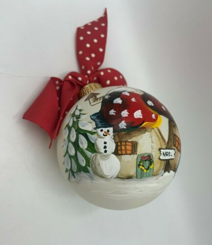 Pipka Collectibles Hand Painted Glass Ornament 1981 Christmas Snowman Toadstools