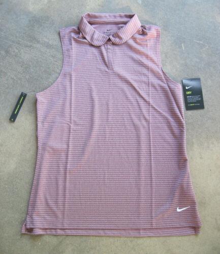 NIKE Womens Dri-Fit VICTORY Textured Sleeveless Golf Polo Shirt Crimson Red NWT