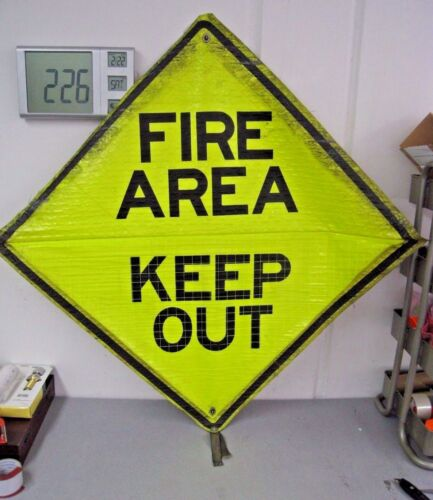 """Reflective Roll-Up Construction Traffic Sign, 48"""" x 48"""" """"Fire Area"""" and """"Merge"""""""