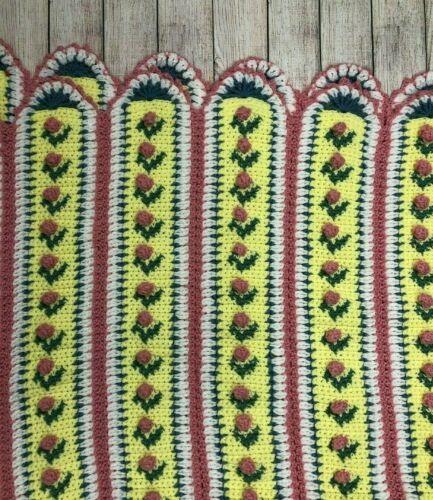 Vintage 3D Rose Crochet Blanket Afghan Multicolor 50 X 64 Shabby Chic Cottage