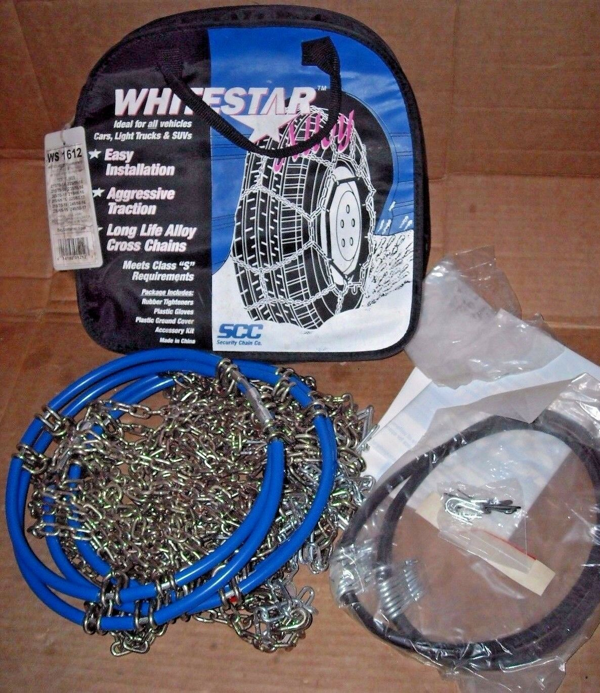Whitestar Alloy Tire Snow Chains, Stock # WS1612, Never Used