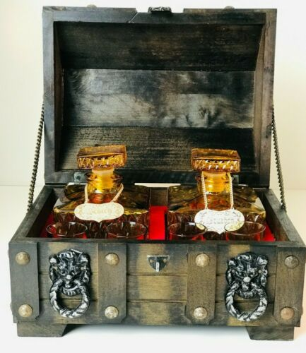 Vintage Amber Glass Liquor Decanter Set In Wood Tantalus Treasure Chest Box