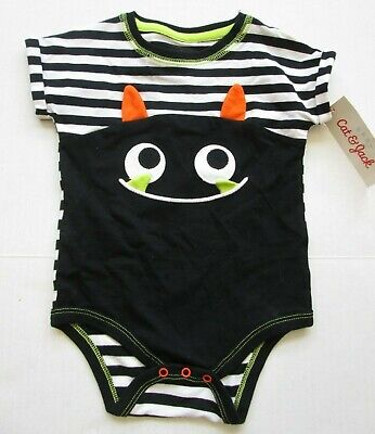 Baby Cat Face Halloween (NWT-Baby Cat & Jack Infant Bodysuit-Halloween Monster Face/Stripes-6-9)