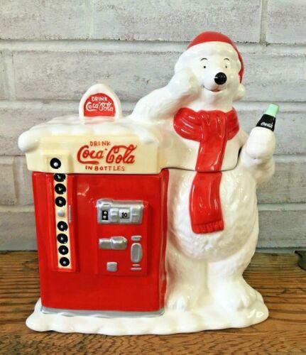Vintage Coca Cola Coke Polar Bear Red Vending Machine Cookie Jar Houston Harvest