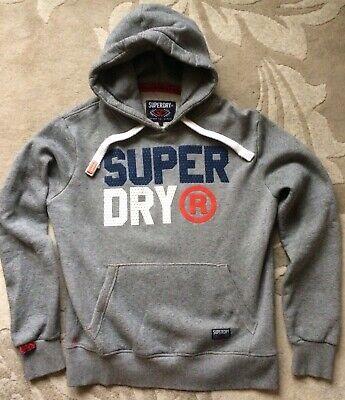 SuperDry Sport Goods Hoodie Pullover LS Sweatshirt Bold Logo Men L Gray
