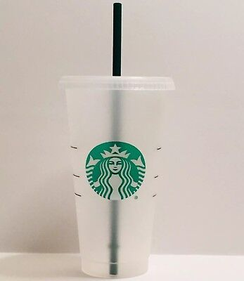 Starbucks Reusable Plastic Venti Cup Clear Frosted 24oz Cold Beverage + Straw](Frosted Plastic Cups)