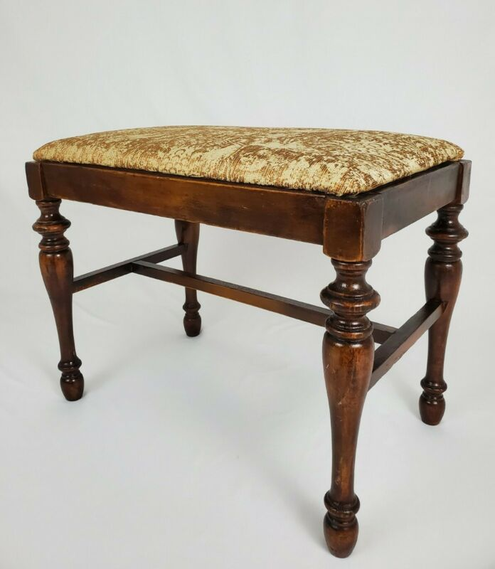 Antique Mahogany Wood Vanity Piano Bench Federal Victorian Style